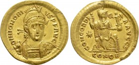 HONORIUS (393-423). GOLD Solidus. Constantinople.