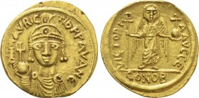 MAURICE TIBERIUS (582-602). GOLD Solidus. Carthage. Dated IY 15.