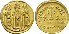HERACLIUS with HERACLIUS CONSTANTINE and HERACLONAS (610-641). GOLD Solidus. Constantinople.