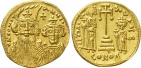CONSTANS II with CONSTANTINE IV, HERACLIUS and TIBERIUS (641-668). GOLD Solidus. Constantinople.