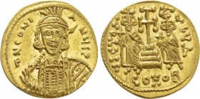CONSTANTINE IV POGONATUS with HERACLIUS and TIBERIUS (668-685). GOLD Solidus. Constantinople.