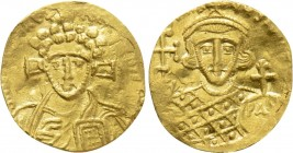 JUSTINIAN II (Second reign, 705-711). GOLD Tremissis. Constantinople.