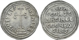 "LEO III THE ""ISAURIAN"", with CONSTANTINE V (717-741). Miliaresion. Constantinople."