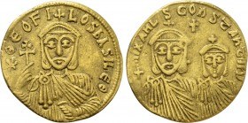 THEOPHILUS with CONSTANTINE and MICHAEL II (829-842). GOLD Solidus. Constantinople.