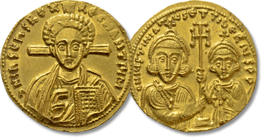 Lot 966. JUSTINIAN II with TIBERIUS (Second reign, 705-711). GOLD Solidus. Constantinople.