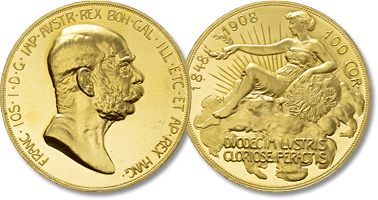 Lot 1105. AUSTRIA. Franz Joseph I (1848-1916). GOLD 100 Corona (1908). Commemorating the 60th Anniversary of his reign.