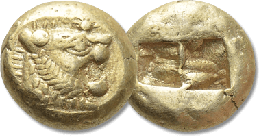 Lot 301. KINGS OF LYDIA. Time of Alyattes to Kroisos (Circa 620/10-550/39 BC). EL Trite or 1/3 Stater. Sardes.