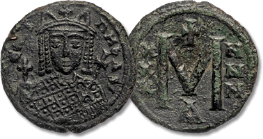 Lot 1128. IRENE (797-802). Follis. Constantinople. AE.