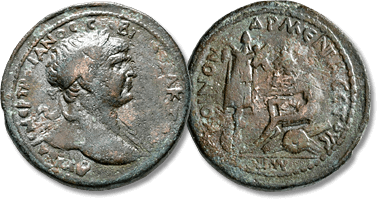 Lot 891. ARMENIA MINOR, Koinon of Armenia. Trajan, 98-117. 'Sestertius', Nicopolis ad Lycum, RY 17 and CY 43 = 113/4.